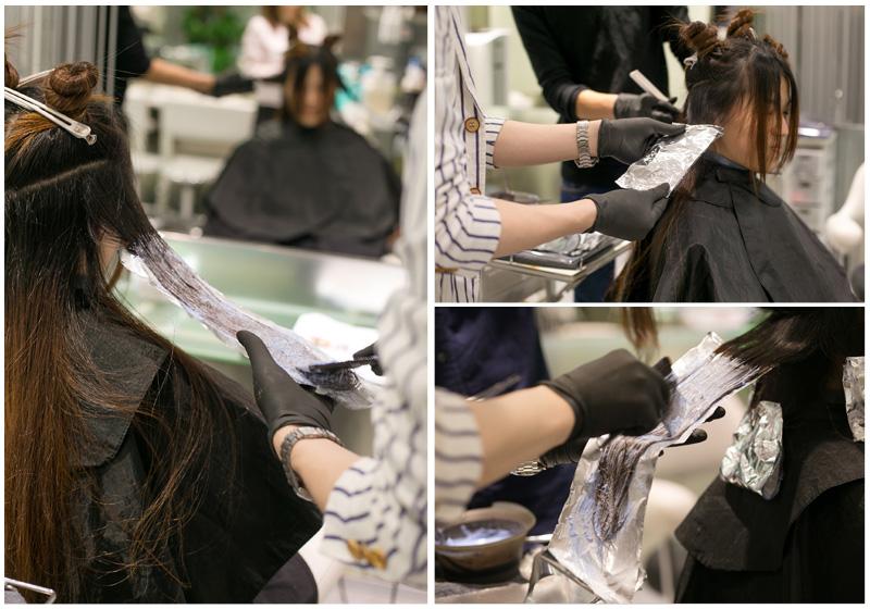 挑染使用了3种颜色。ZACK老师非常仔细的进行染发。
